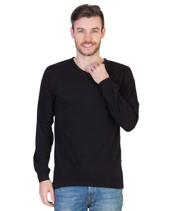 Acomharc Inc Black Cotton Full Sleeves V-Neck T-shirt