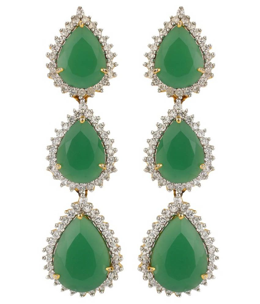 Dilan Jewels Green and White Silver Alloy Hanging Earrings