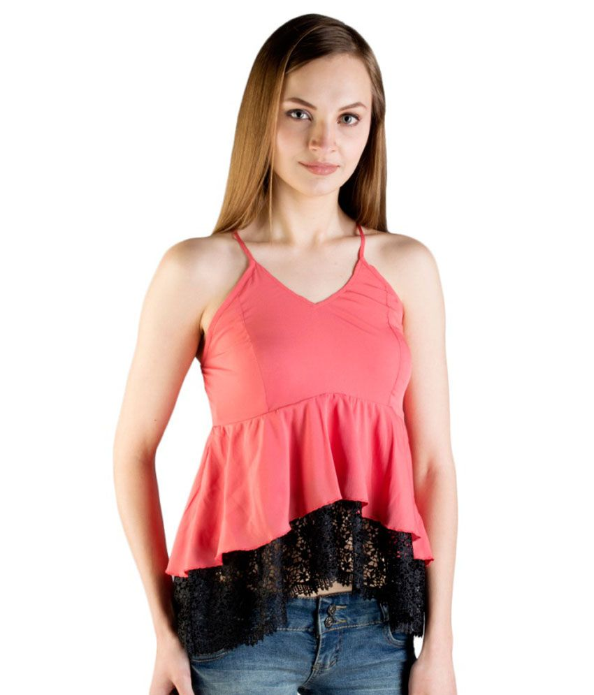7653656883e Tryfa Pink Poly Crepe Crop Top - Buy Tryfa Pink Poly Crepe Crop Top Online  at Best Prices in India on Snapdeal