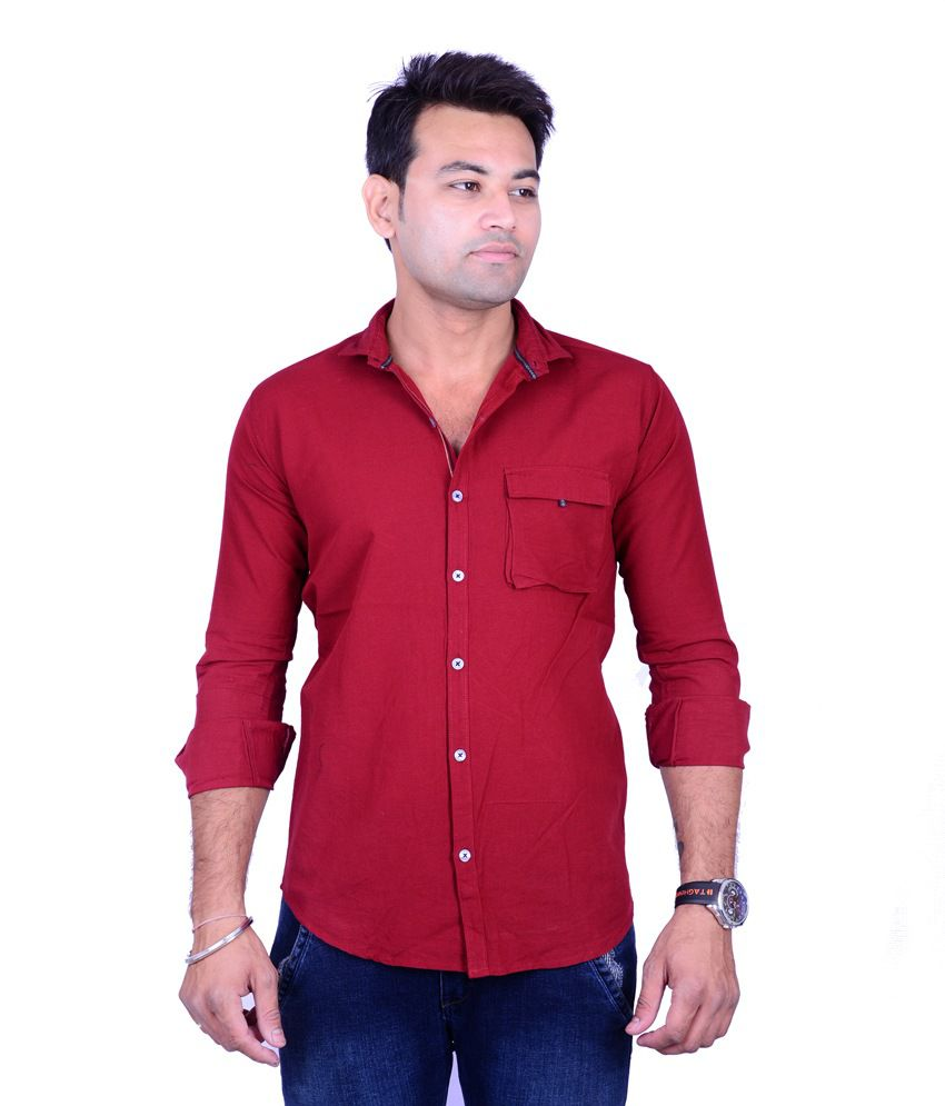 La Milano Red Casuals Slim Fit Shirts