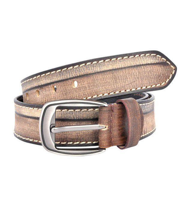 Leo Beige Leather Casual Belt for Men