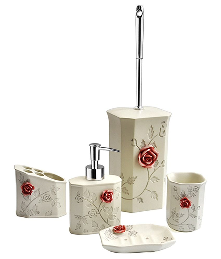 Shresmo Beige Resin Flora Bathroom Set