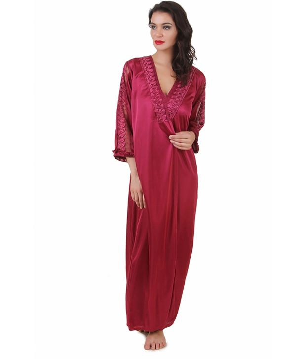 43a48ba48e Buy Masha Maroon satin Nighty Online at Best Prices in India - Snapdeal