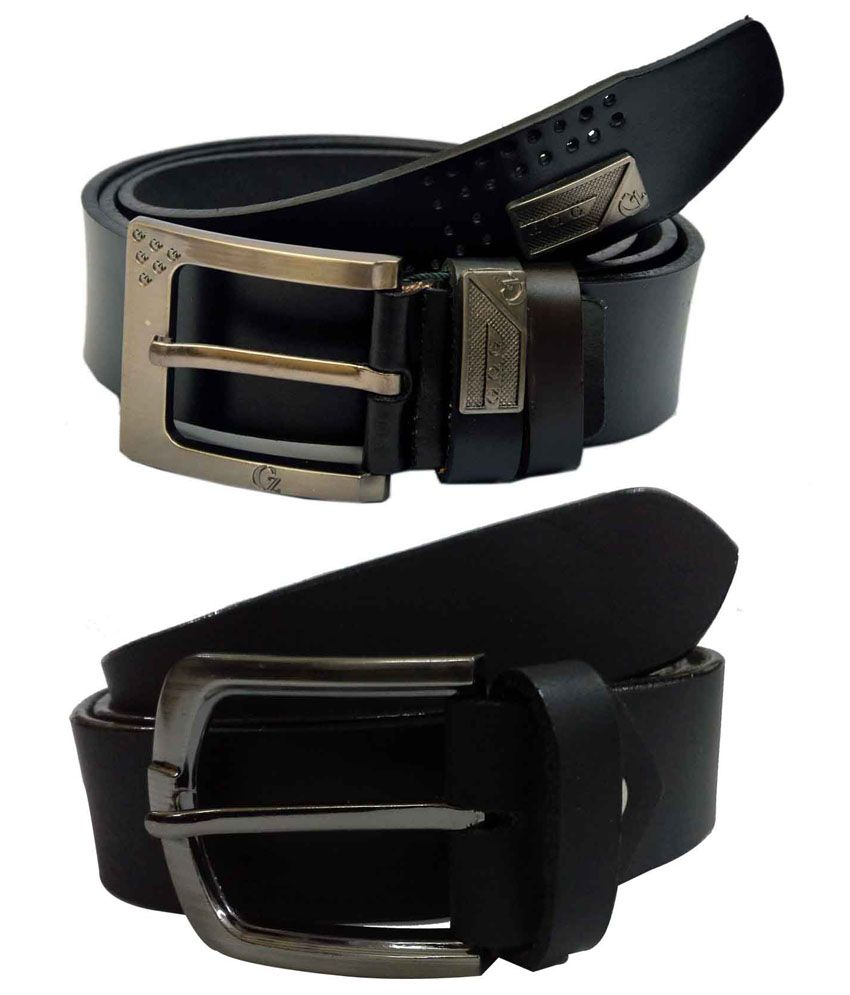 Jaydee India Designer Belt Black Pin Buckle Leather Belt for Men - Pack of 2
