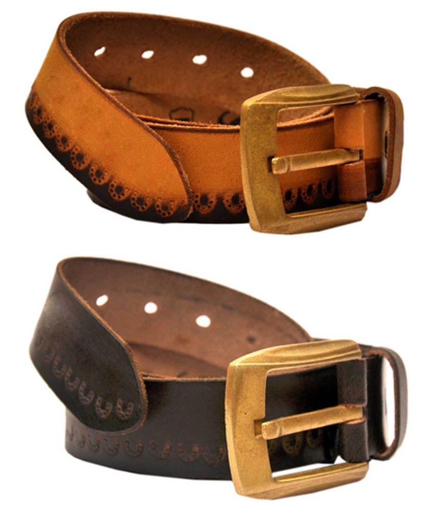 Jaydee India Designer Belt Multicolour Pin Buckle Leather Belt for Men - Pack of 2