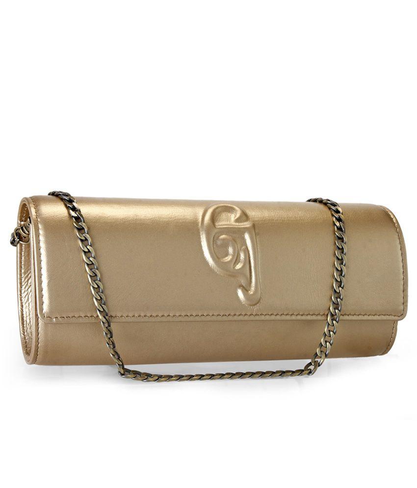 Jasbir Gill Gold Leather Clutch