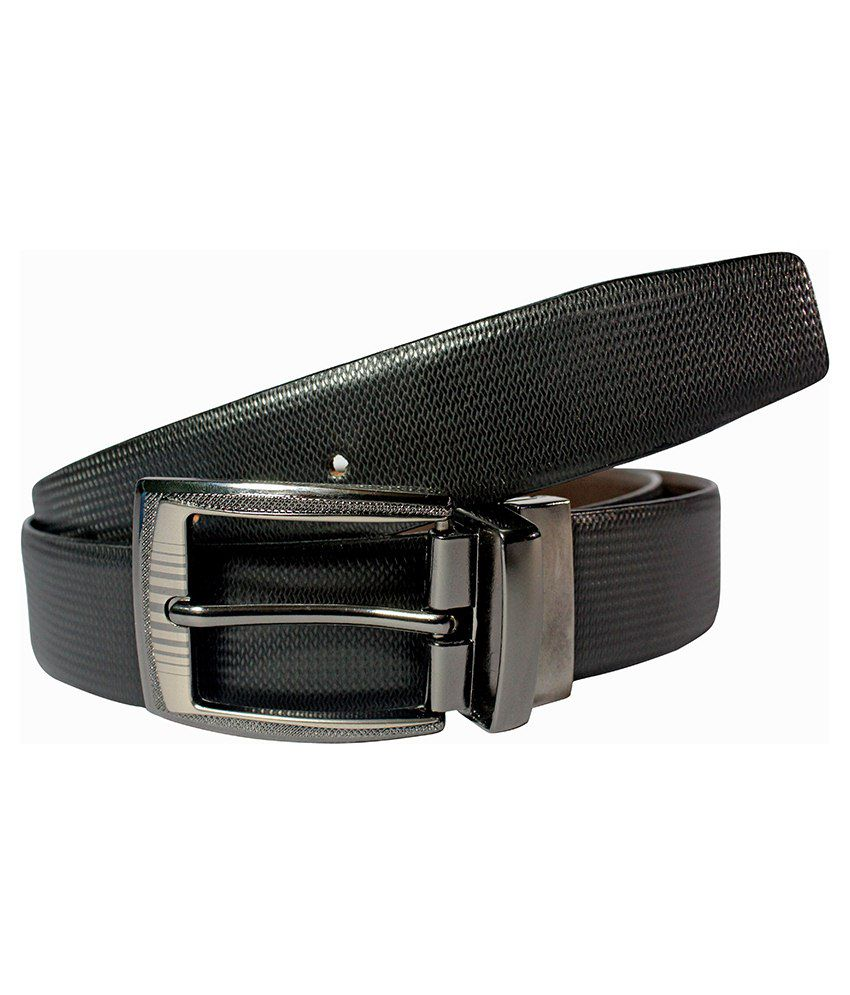 Dywin Black Leather Reversible Belt For Men