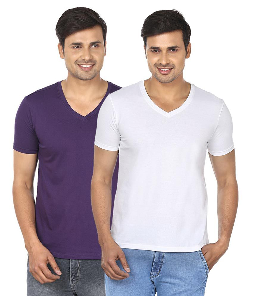 Fashionmania By Glanz Multi V-Neck T Shirts Pack Of 2