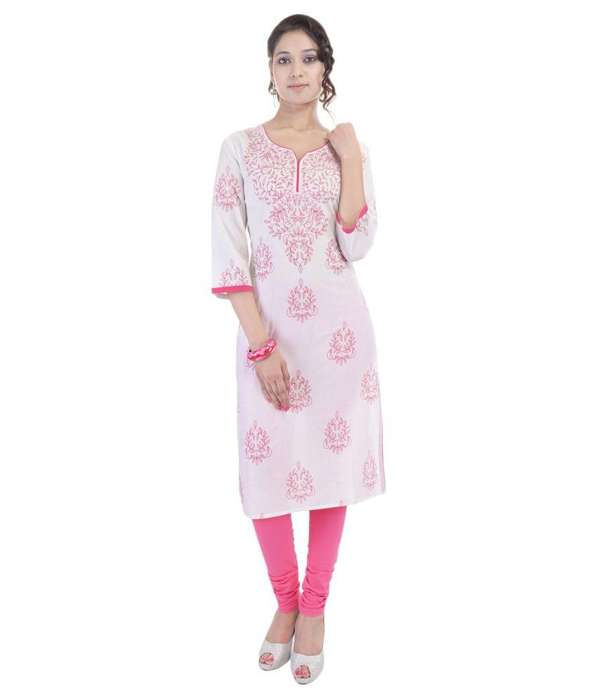 Anjani Pink Cotton Straight Kurti