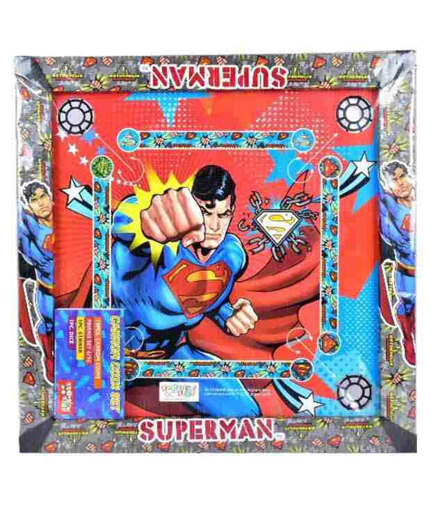 Superman Multicolour Superman 2-in-1 Carrom Board with Snakes and ladders Game
