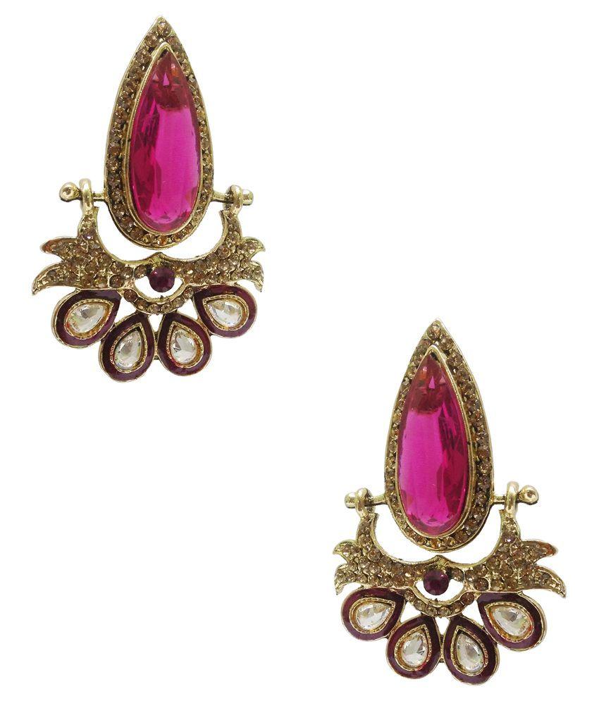 Taruni Golden American Diamond Designer Hanging Earrings