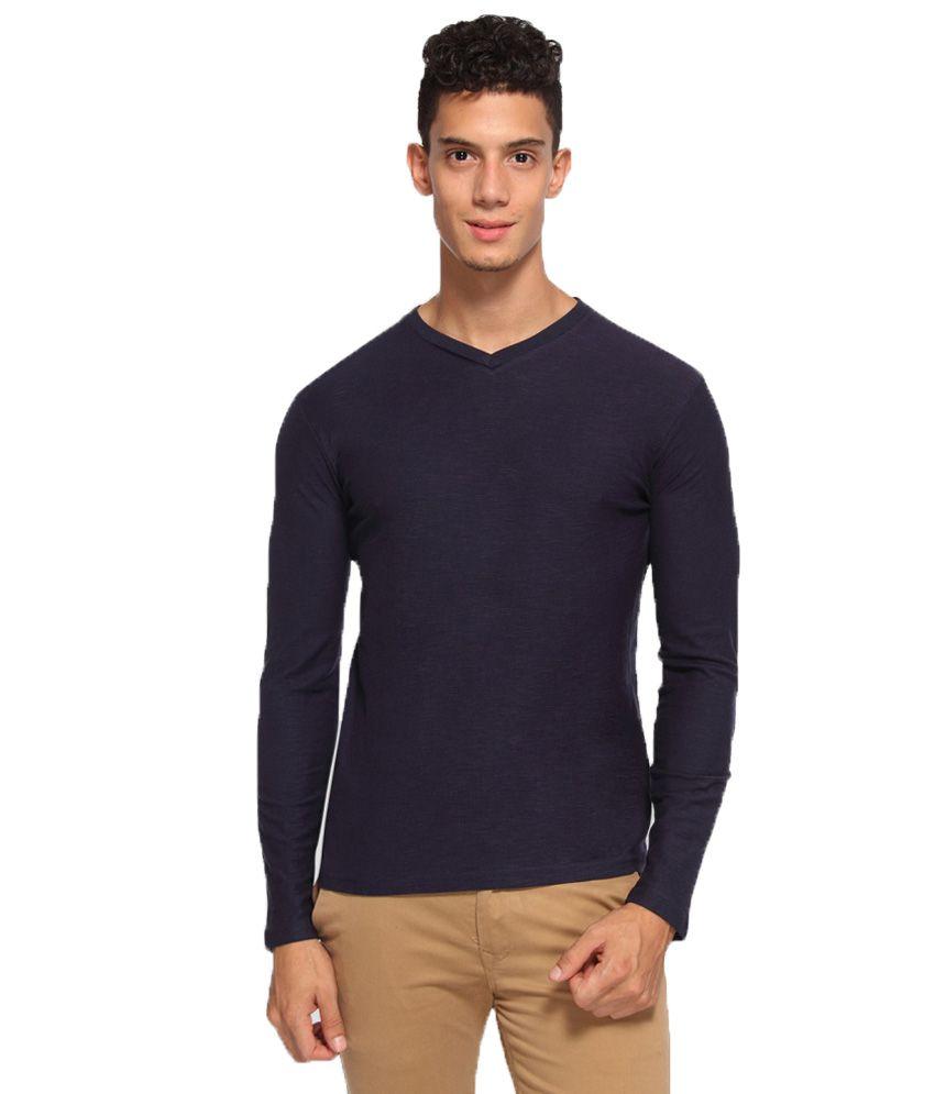 Arise By Beroe Navy V-Neck T Shirts