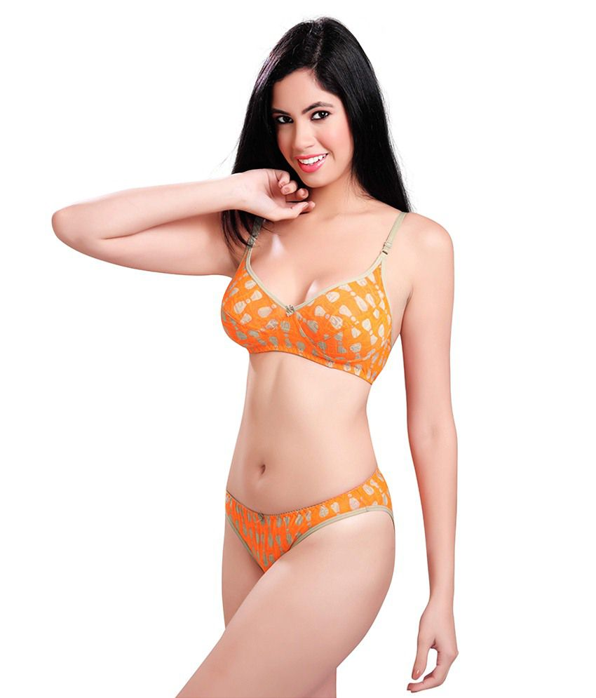 5ce123ccb7 Buy Sunny Orange Cotton Bra   Panty Sets Online at Best Prices in ...