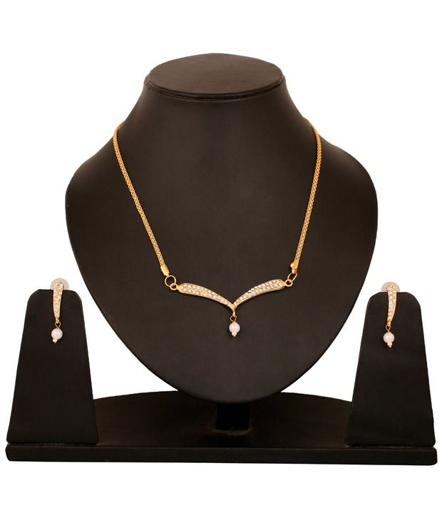 Touchstone Golden AD Studded Necklace Set