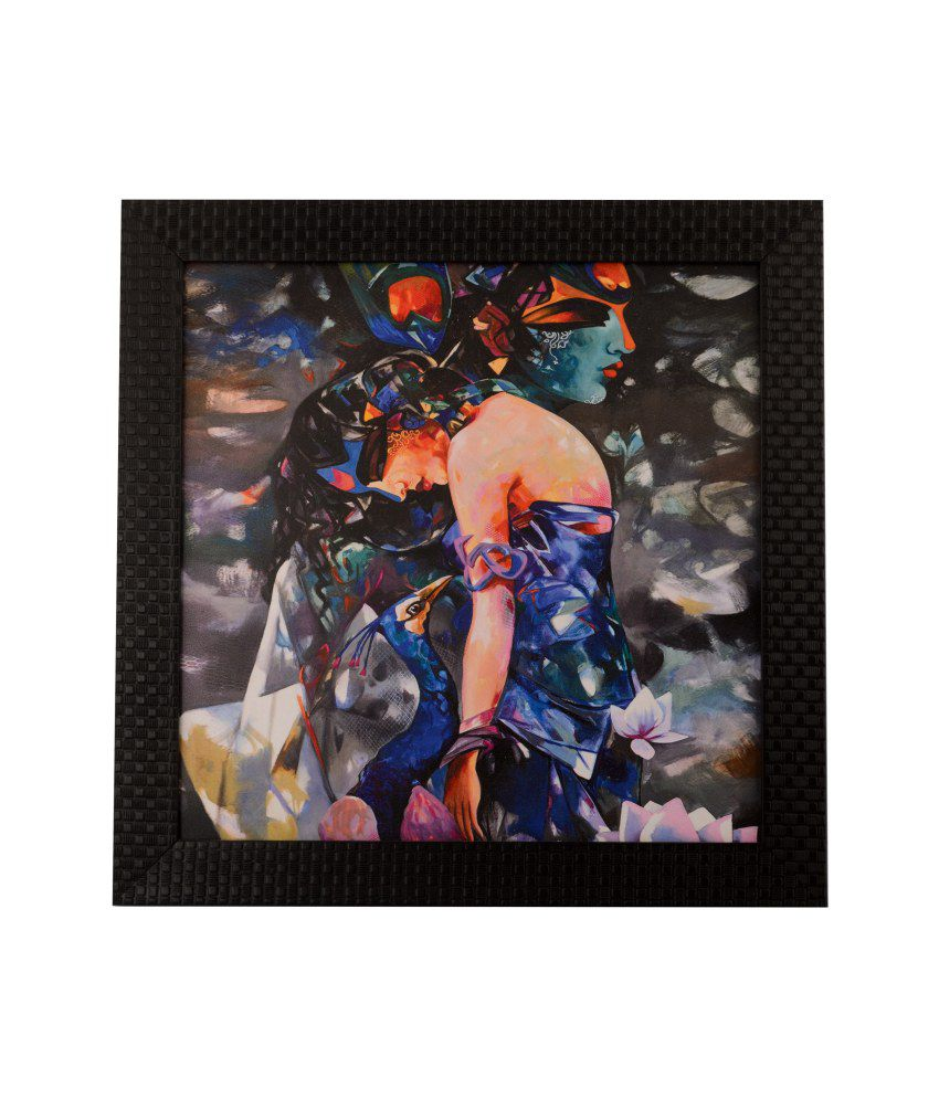 eCraftIndia Colourful Beautiful Lady Satin Matt Texture Framed UV Art Print