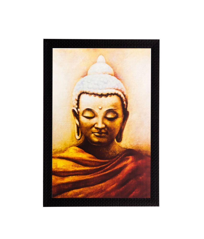 eCraftIndia Enlightening Lord Buddha Matt Textured Framed UV Art Print