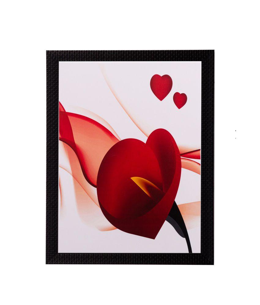 eCraftIndia Heart Share Roses Matt Textured Framed UV Art Print