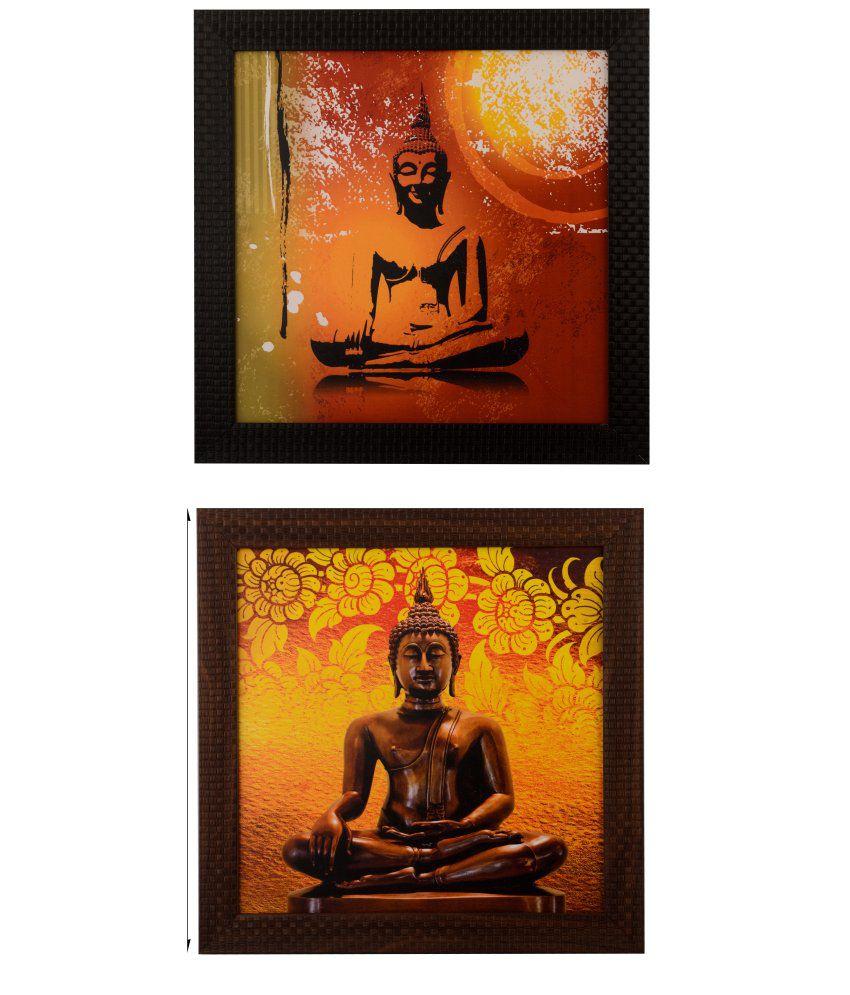 eCraftIndia Meditating Buddha Satin Matt Texture Framed UV Art Print