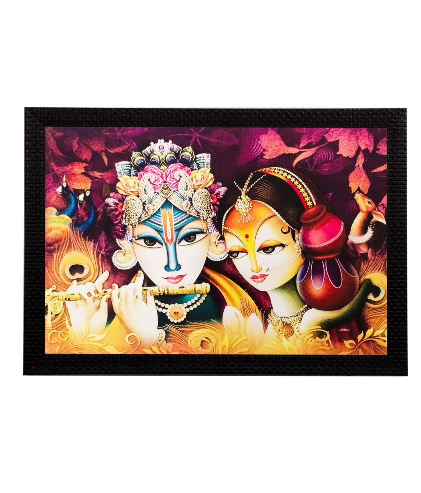 eCraftIndia Radha Krishna Matt Textured Framed UV Art Print