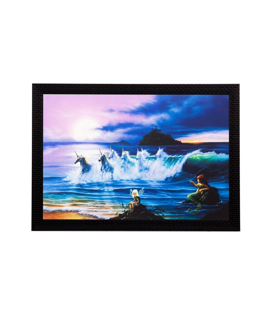 eCraftIndia Running Horses In Water Matt Textured Framed UV Art Print