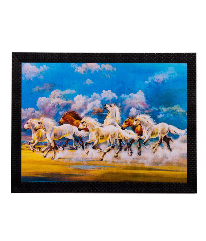 eCraftIndia Running Lucky Horses Matt Textured Framed UV Art Print