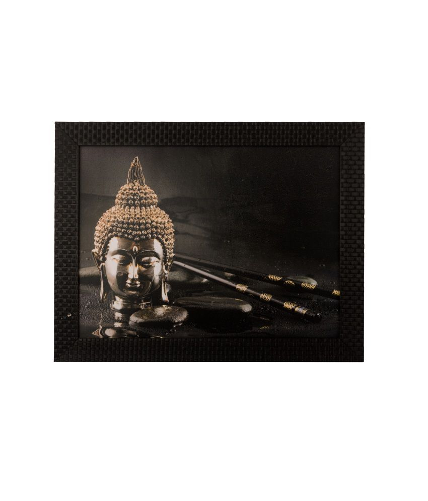 eCraftIndia Spiritual Buddha Head Satin Matt Texture Framed UV Art Print