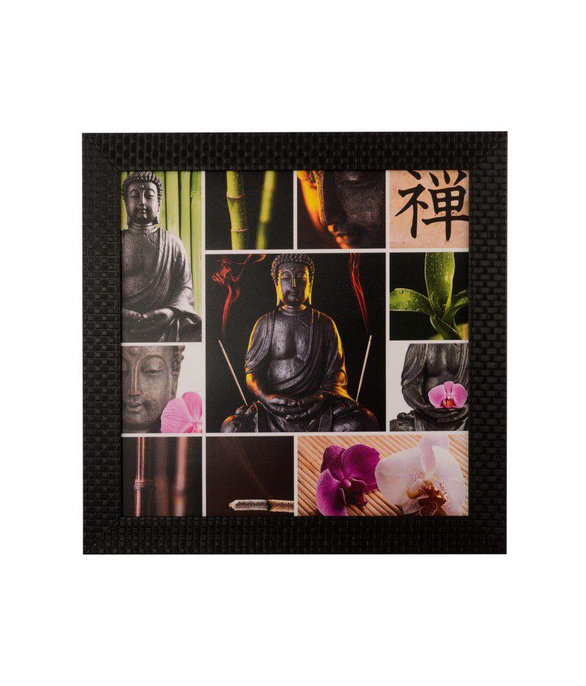 eCraftIndia Spiritual Buddha Satin Matt Texture Framed UV Art Print