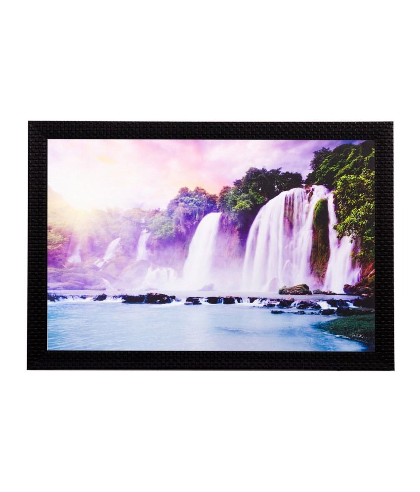 eCraftIndia Wonderful Waterfall View Matt Textured Framed UV Art Print