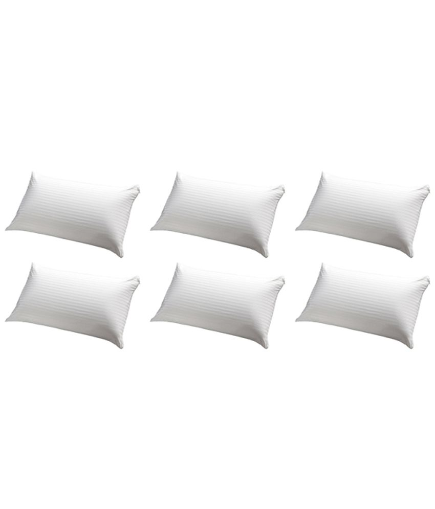 JDX White Polyester Pillows Pack Of 6