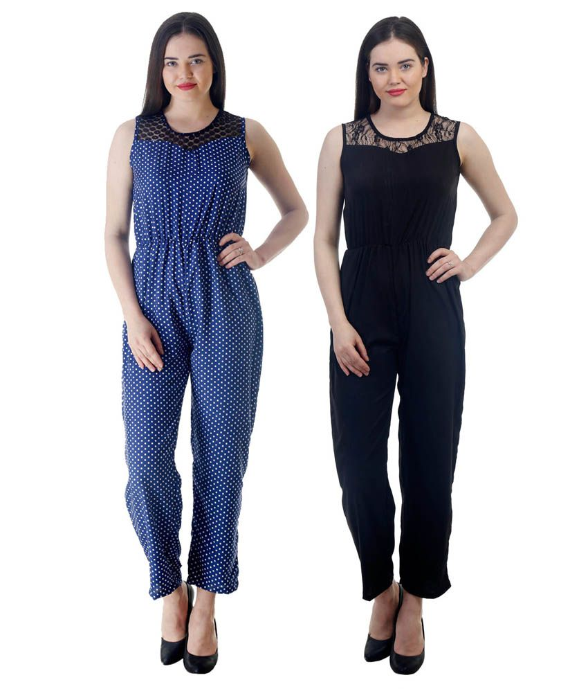 4ca1d5f0f4e Westrobe Womens Nevy Blue Polka Dot   Black Plain Jumpsuits Combo - Buy  Westrobe Womens Nevy Blue Polka Dot   Black Plain Jumpsuits Combo Online at  Best ...