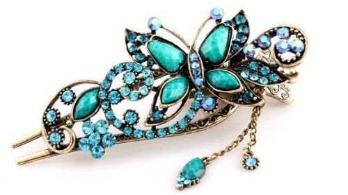 Oyang Imported Free shipping Oyang Green Vintage Jewelry Crystal Butterfly Hairpins Hair stick for hair Beauty Tools Oyang