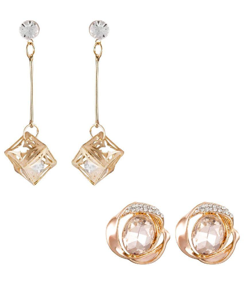 Rcer101 Golden Alloy Combo Of 2 Earrings