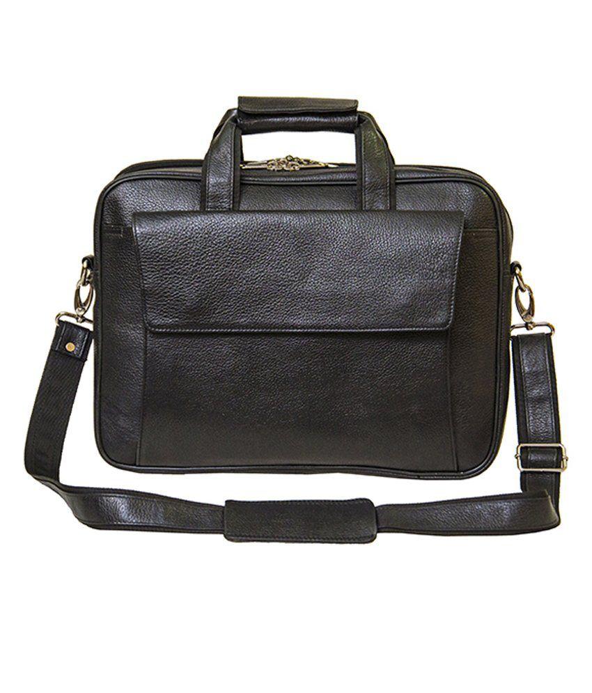 Shubham Black Leather Laptop Bag