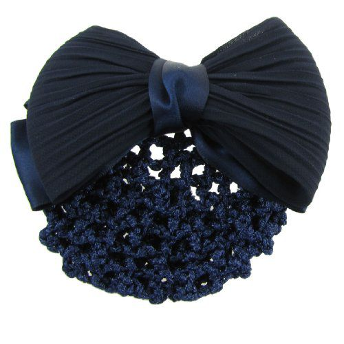 TOOGOO Imported TOOGOO Dark Blue Ruched Bowknot Snood Net Barrette Hair Clip Bun Cover for Woman