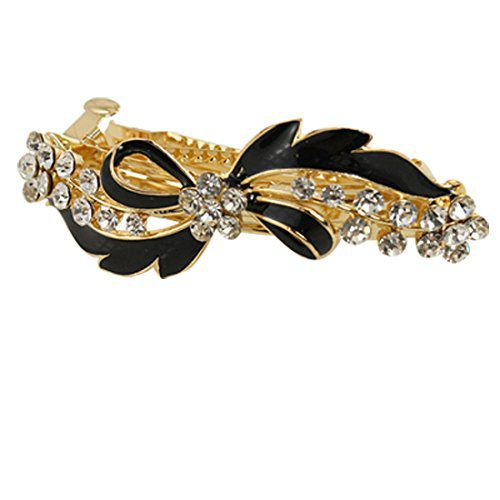 TOOGOO Imported TOOGOO Rhinestone Accent Black Bow Tie Gold Tone Metal French Clip Hair Barrette