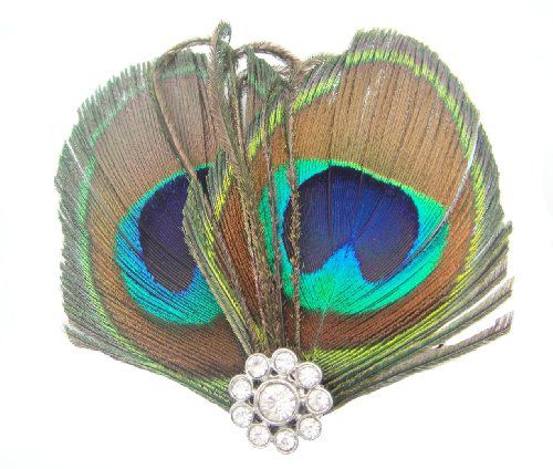 Kobwa Imported eFuture Girls Boutique Cute Little Peacock Feather Hair Clip / Pin +eFuture's nice Keyring