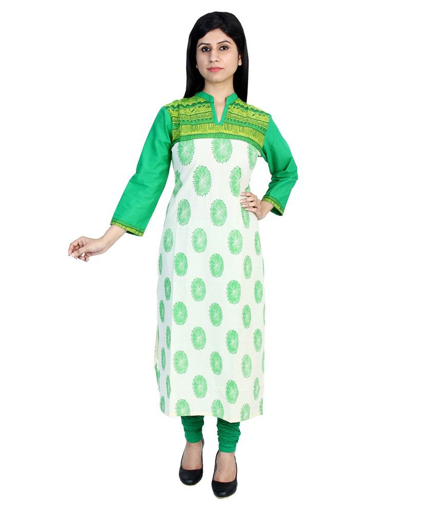 F9 Apparels Green Cotton A - line Kurti