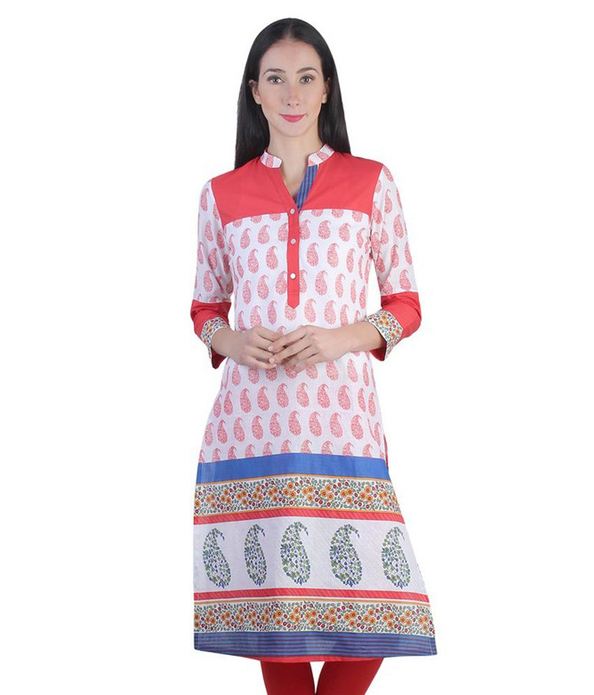 India Rang Red Cotton Straight Kurti