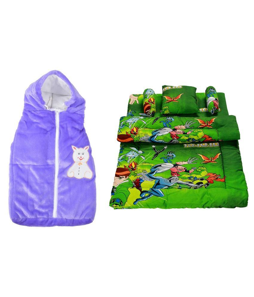 Royal Shri Om Multicolour Baby Wrap with Bedding Set