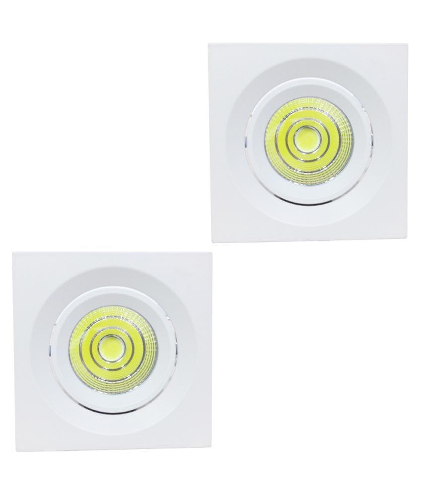 Bene 7W Square LED Ceiling Light - White (Pack Of 2)