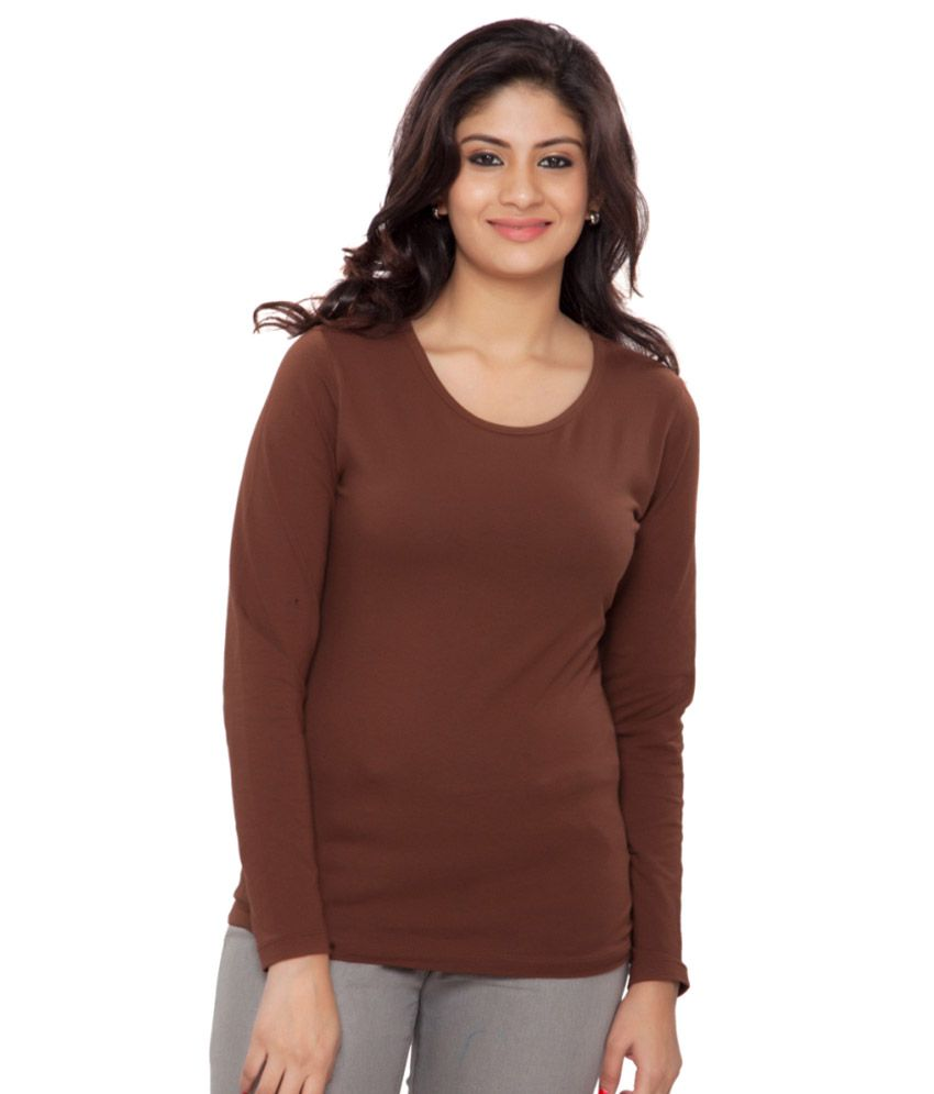 Clifton Brown Plain Full Sleeves Tees for Women