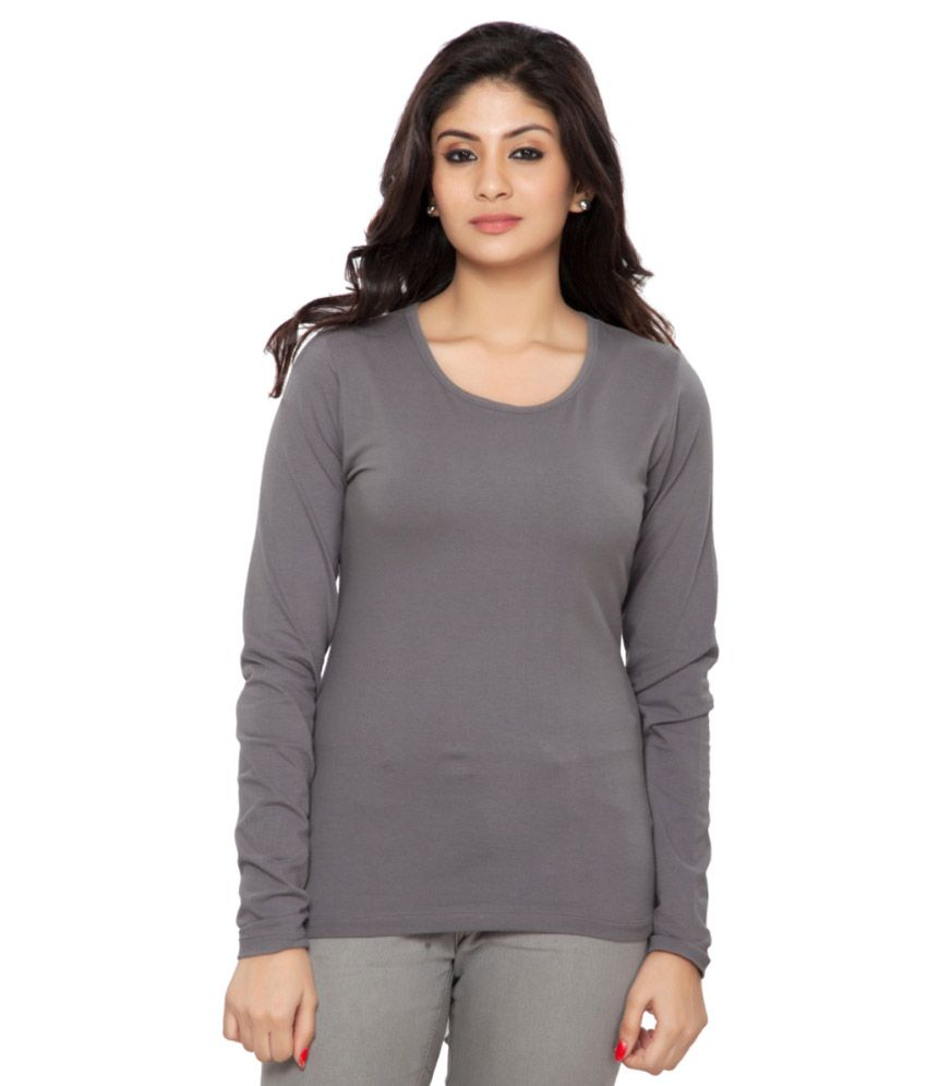 Clifton Grey Full Sleeves Tees for Women