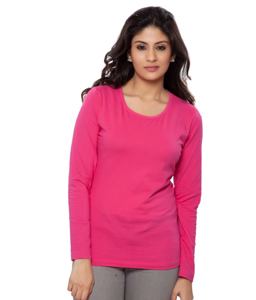 Clifton Pink Plain Full Sleeves Tees for Women