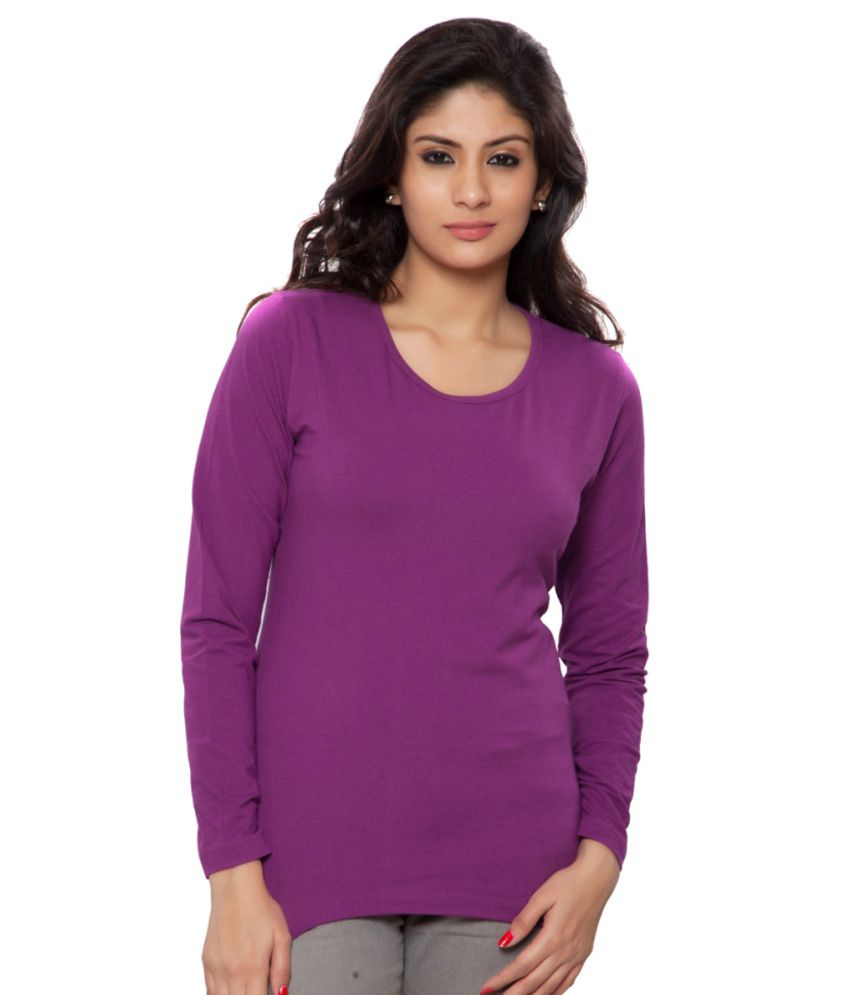 Clifton Purple Plain Full Sleeves Tees for Women