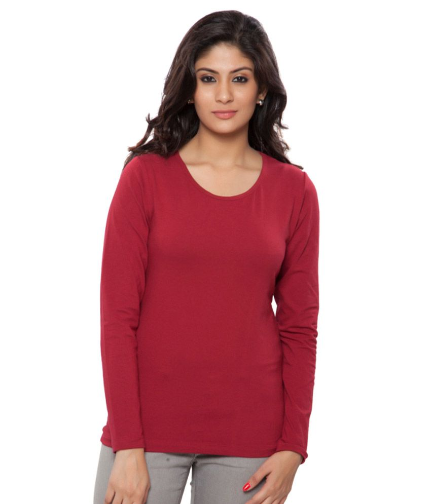 Clifton Red Full Sleeves Tees for Women