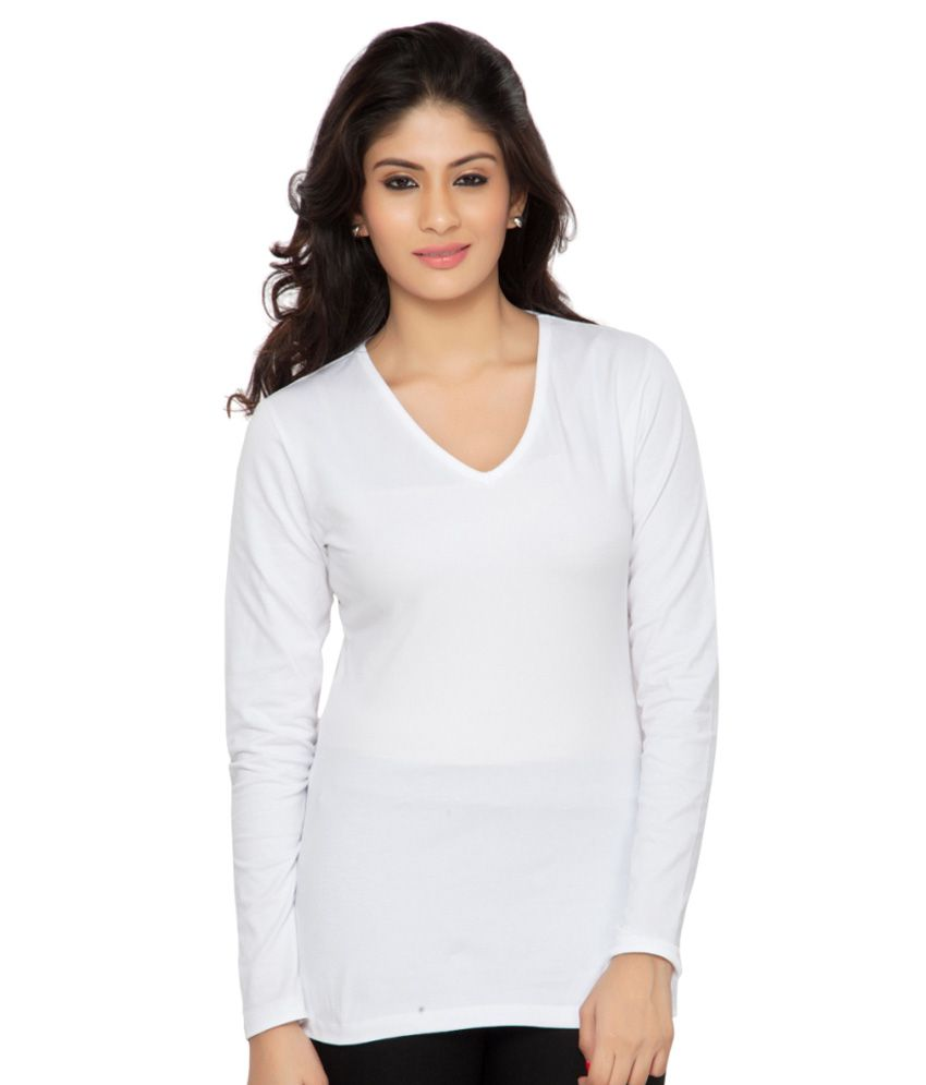 Clifton White Full Sleeves Tees for Women