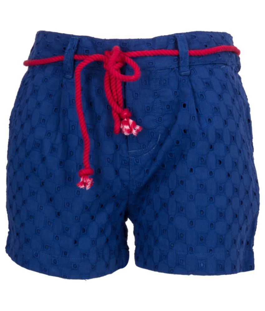 Miss Alibi Blue Cotton Shorts for Girls