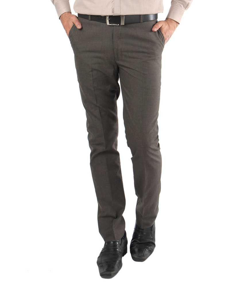Zido Brown Regular Fit Flat Trousers