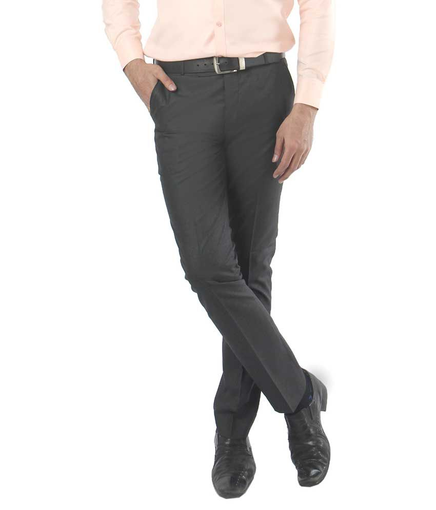 Zido Grey Regular Fit Flat Trousers