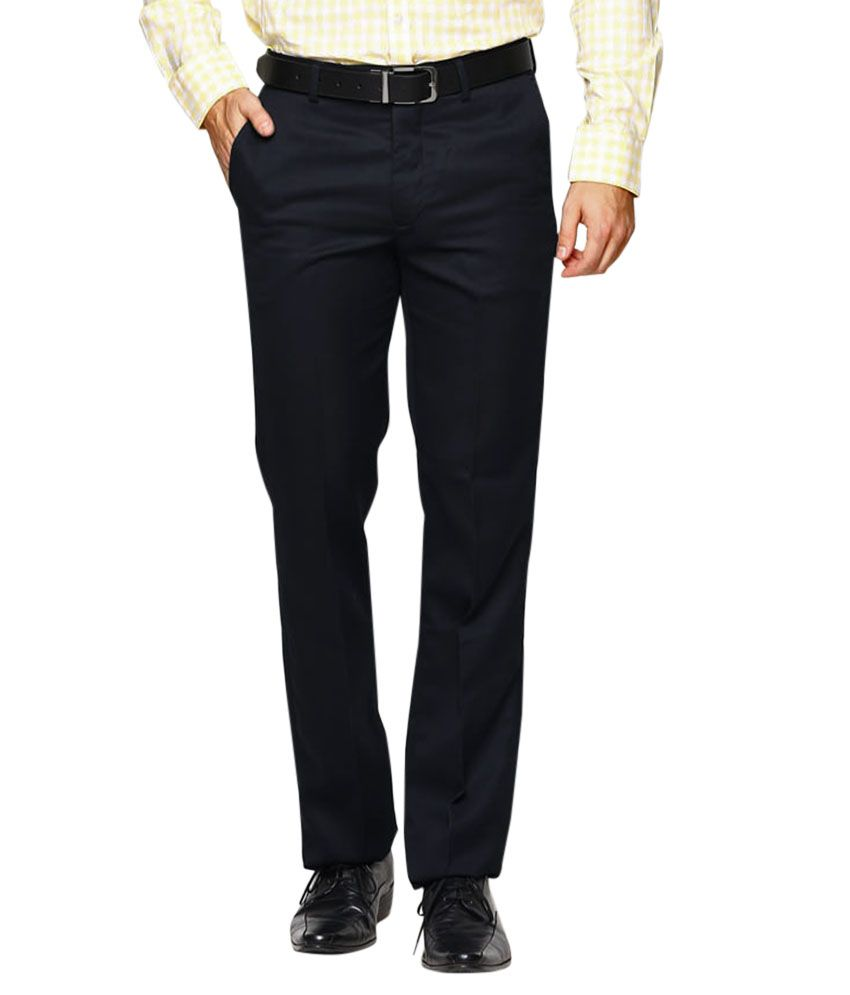 AD & AV Black Regular Flat Trouser